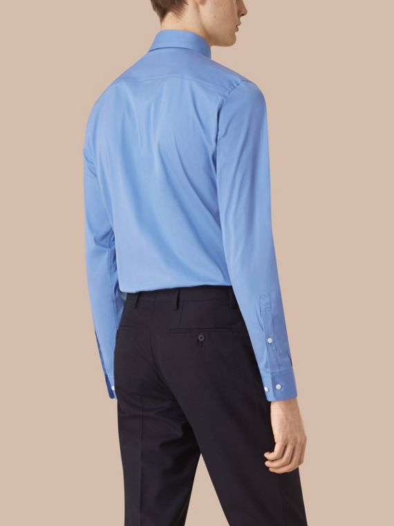 Slim Fit Button-down Collar Stretch-cotton Shirt in Mid Blue - cell image 2