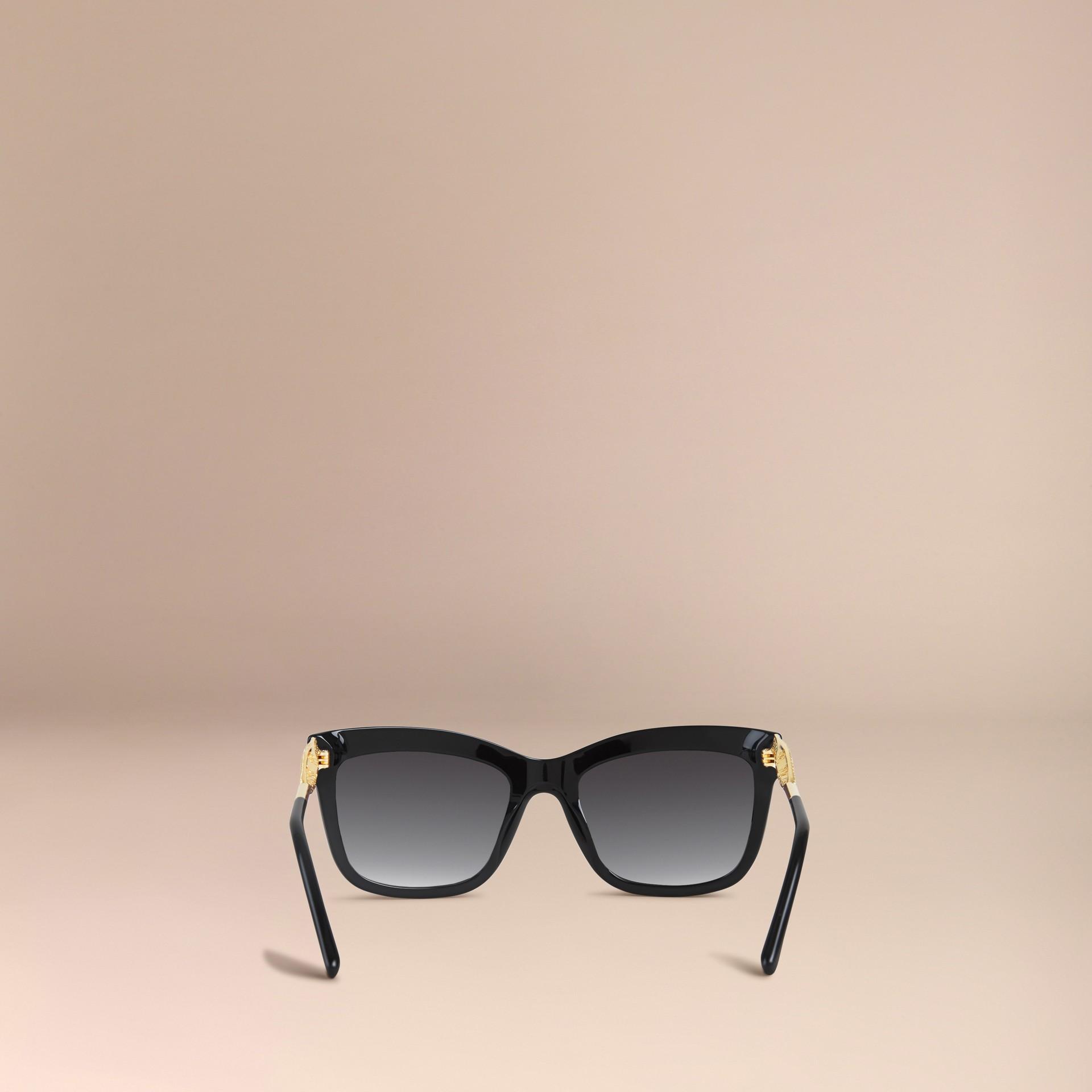 Preto Óculos de sol com armação quadrada da coleção Gabardine Lace Preto - galeria de imagens 4