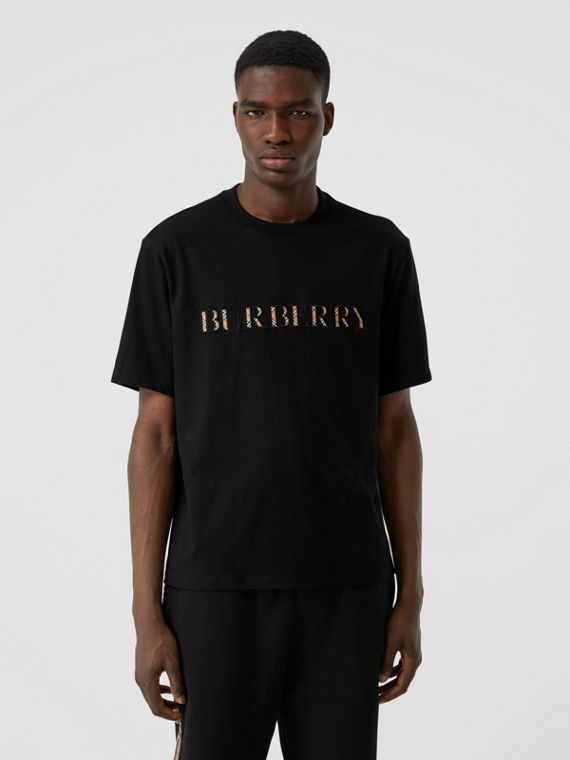 Embroidered Check Logo Cotton T-shirt in Black