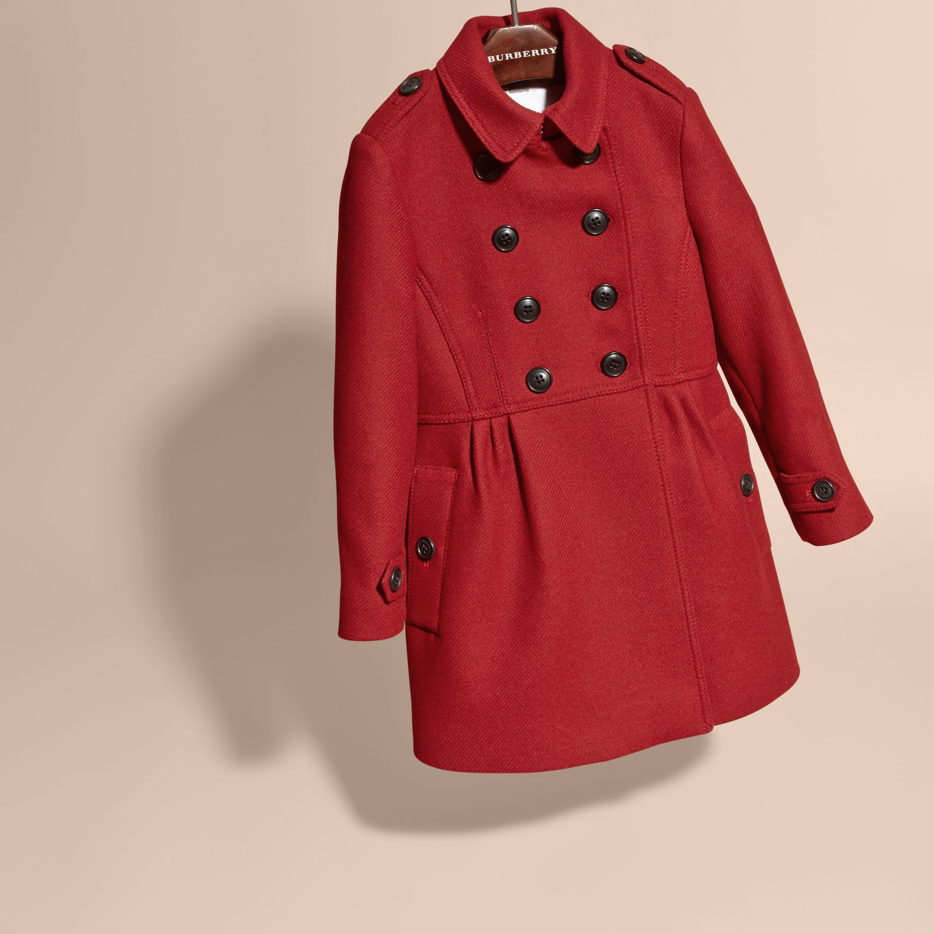 Damson red Tailored Wool Cashmere Blend Coat - gallery image 3