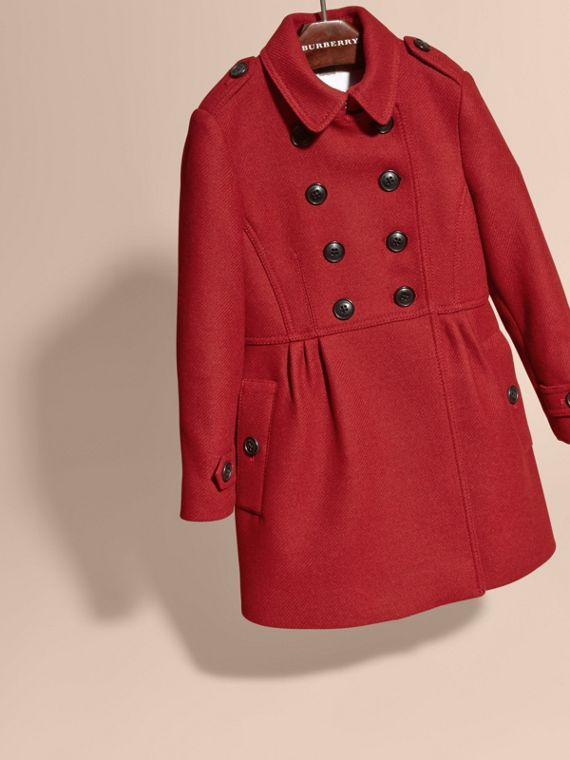 Damson red Tailored Wool Cashmere Blend Coat - cell image 2
