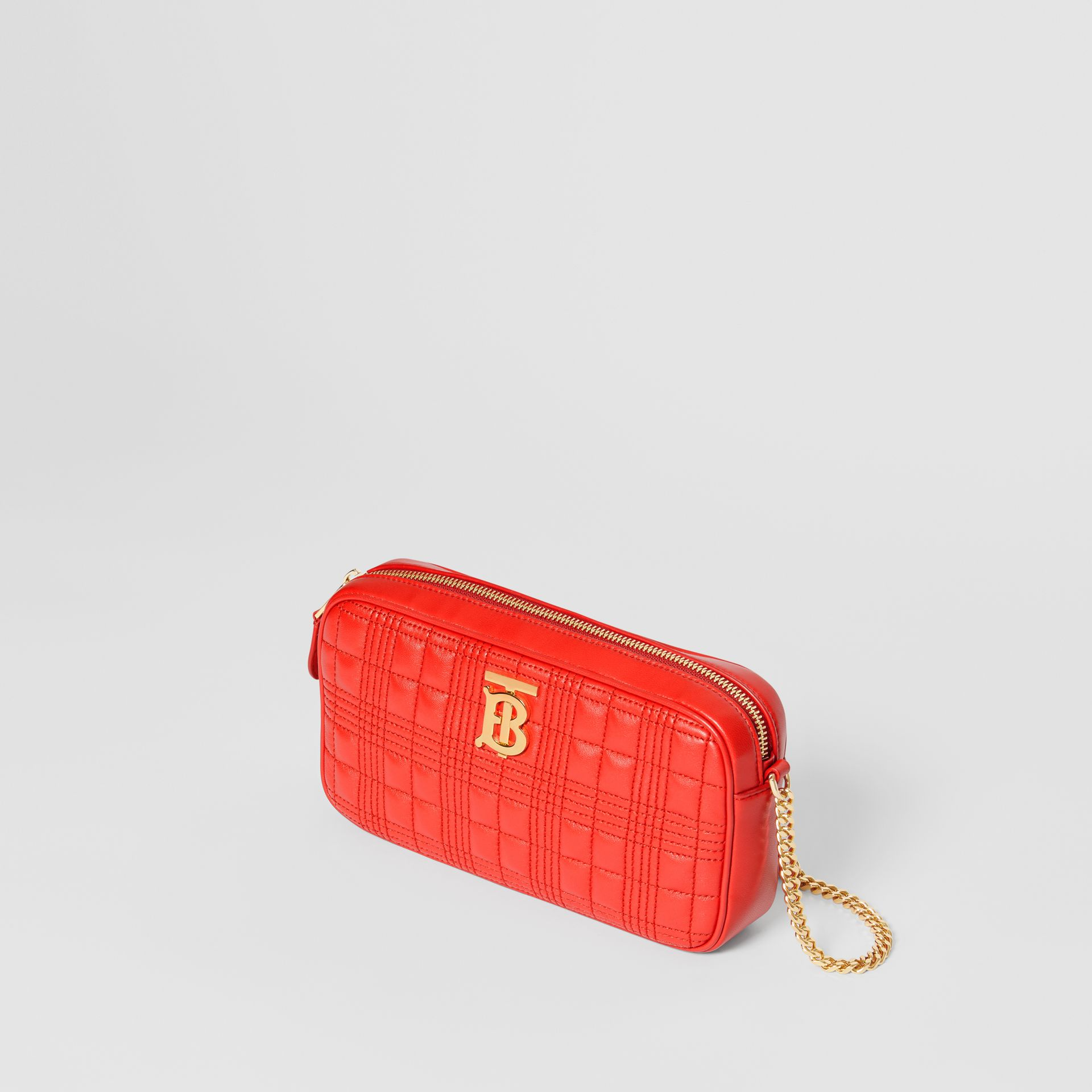 Quilted Check Lambskin Camera Bag in Bright Red - Women | Burberry - gallery image 3