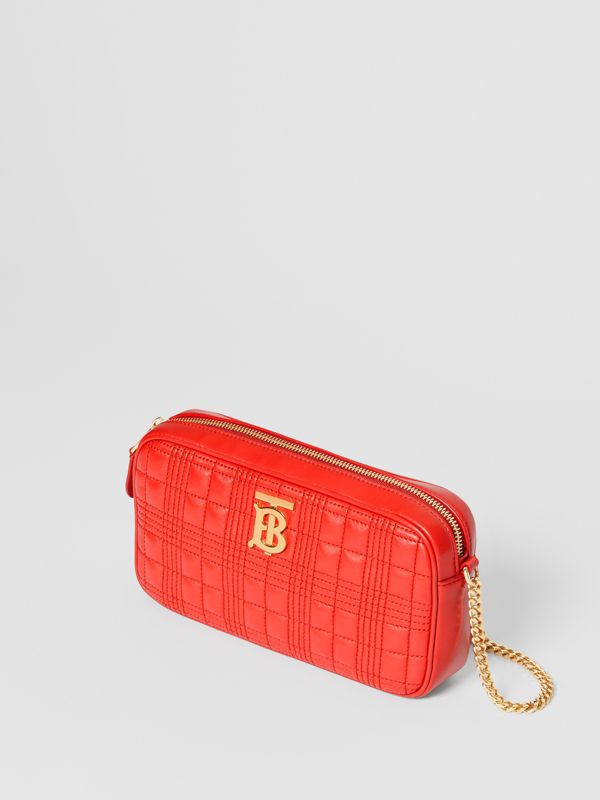 Quilted Check Lambskin Camera Bag in Bright Red - Women | Burberry - cell image 3