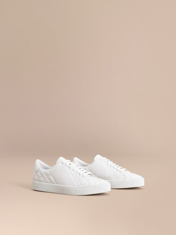 Check-quilted Leather Trainers in Optic White - Women | Burberry Australia
