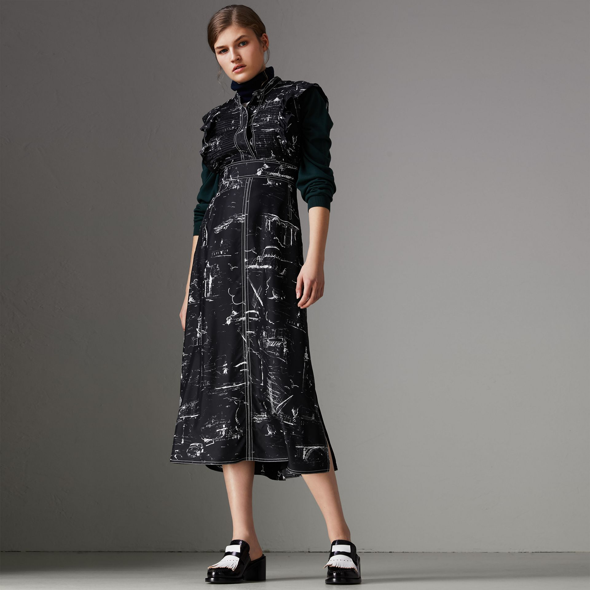 Ruffle Detail Landmark Print Silk Dress in Black - Women | Burberry - gallery image 0