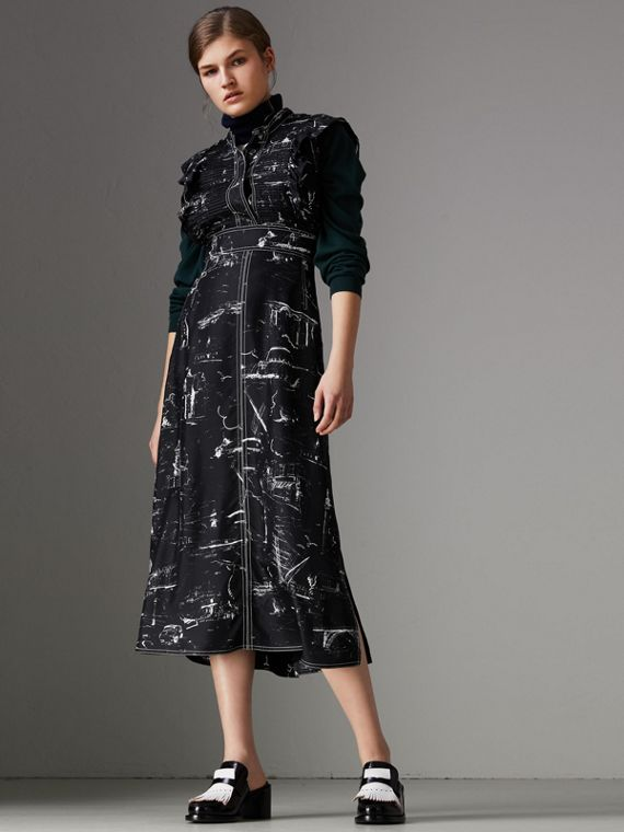 Ruffle Detail Landmark Print Silk Dress in Black
