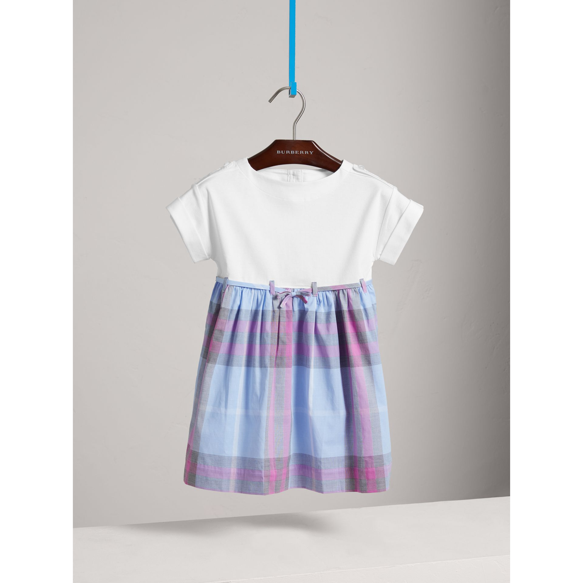 Check Cotton Dress in Chalk Blue - Girl | Burberry - gallery image 0