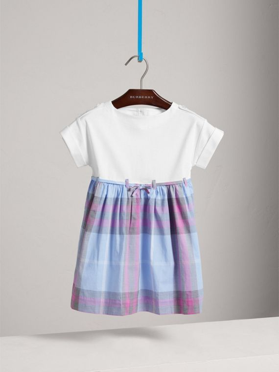 Check Cotton Dress in Chalk Blue