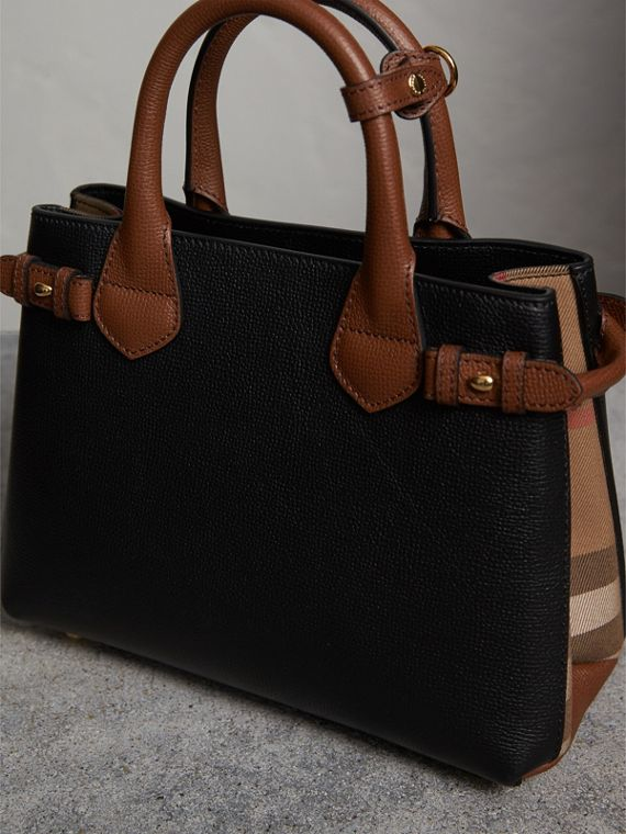The Small Banner in Leather and House Check in Black/tan - Women | Burberry Singapore - cell image 2