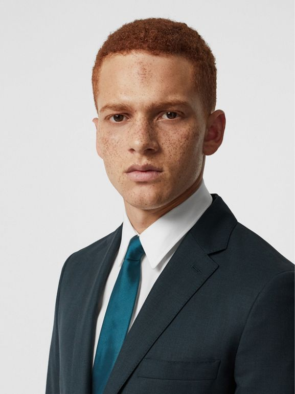 Slim Fit Wool Mohair Silk Suit in Dark Teal - Men | Burberry Canada - cell image 1
