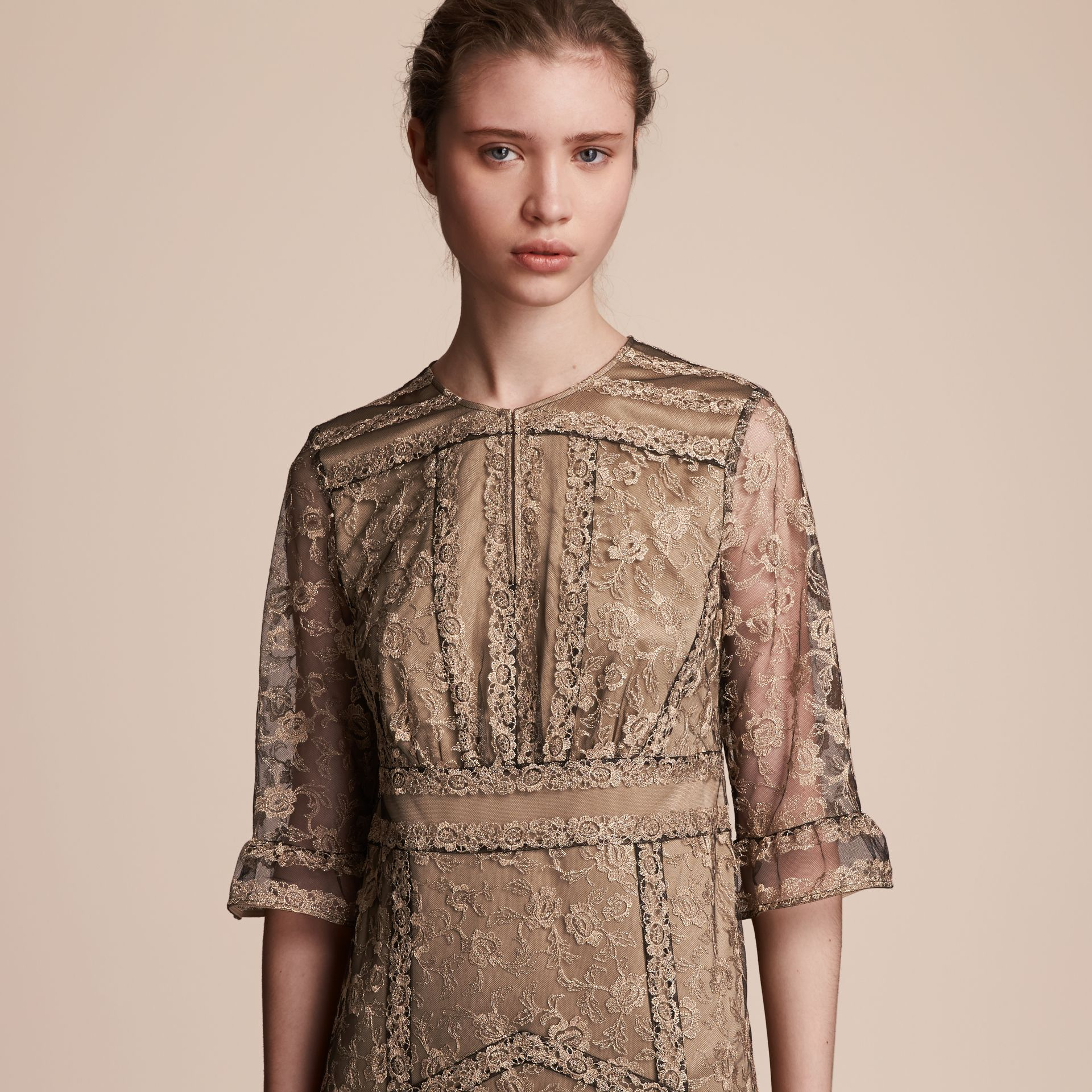 Floral Lace Tulle Dress in Gold - Women | Burberry Hong Kong - gallery image 5