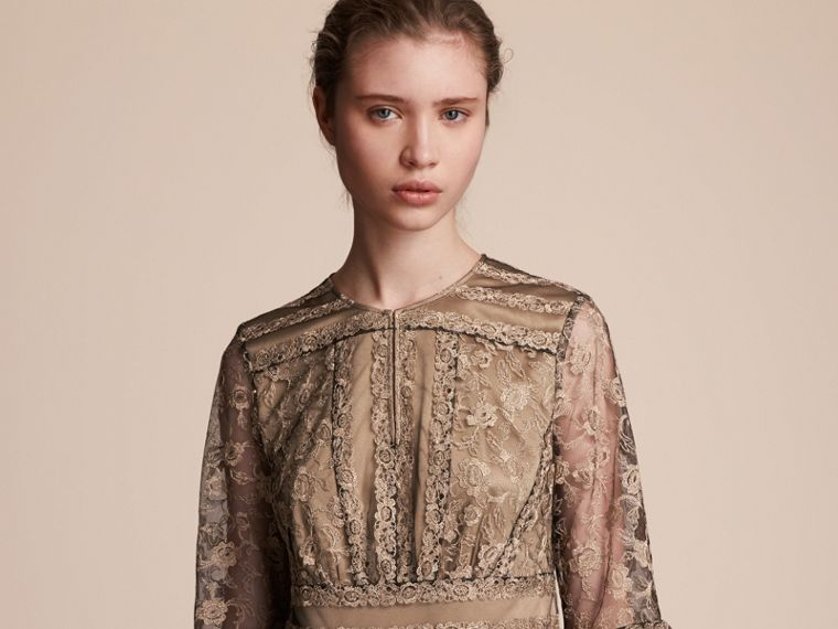 Floral Lace Tulle Dress in Gold - Women | Burberry - cell image 4