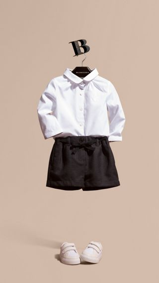 Peter Pan Collar Stretch Cotton Shirt