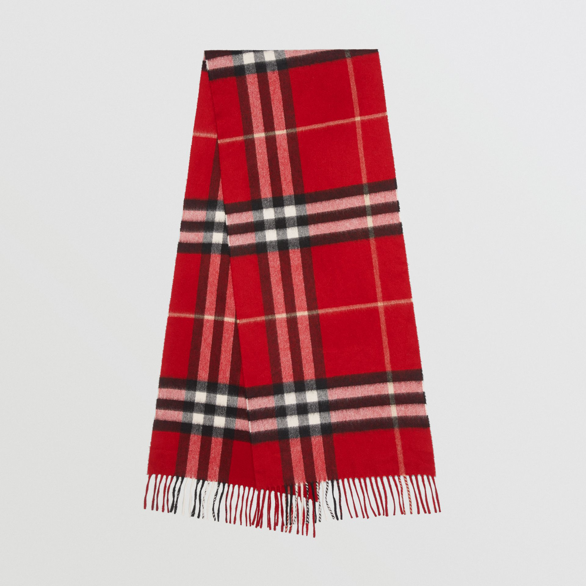The Classic Check Cashmere Scarf in Parade Red | Burberry Singapore - gallery image 0