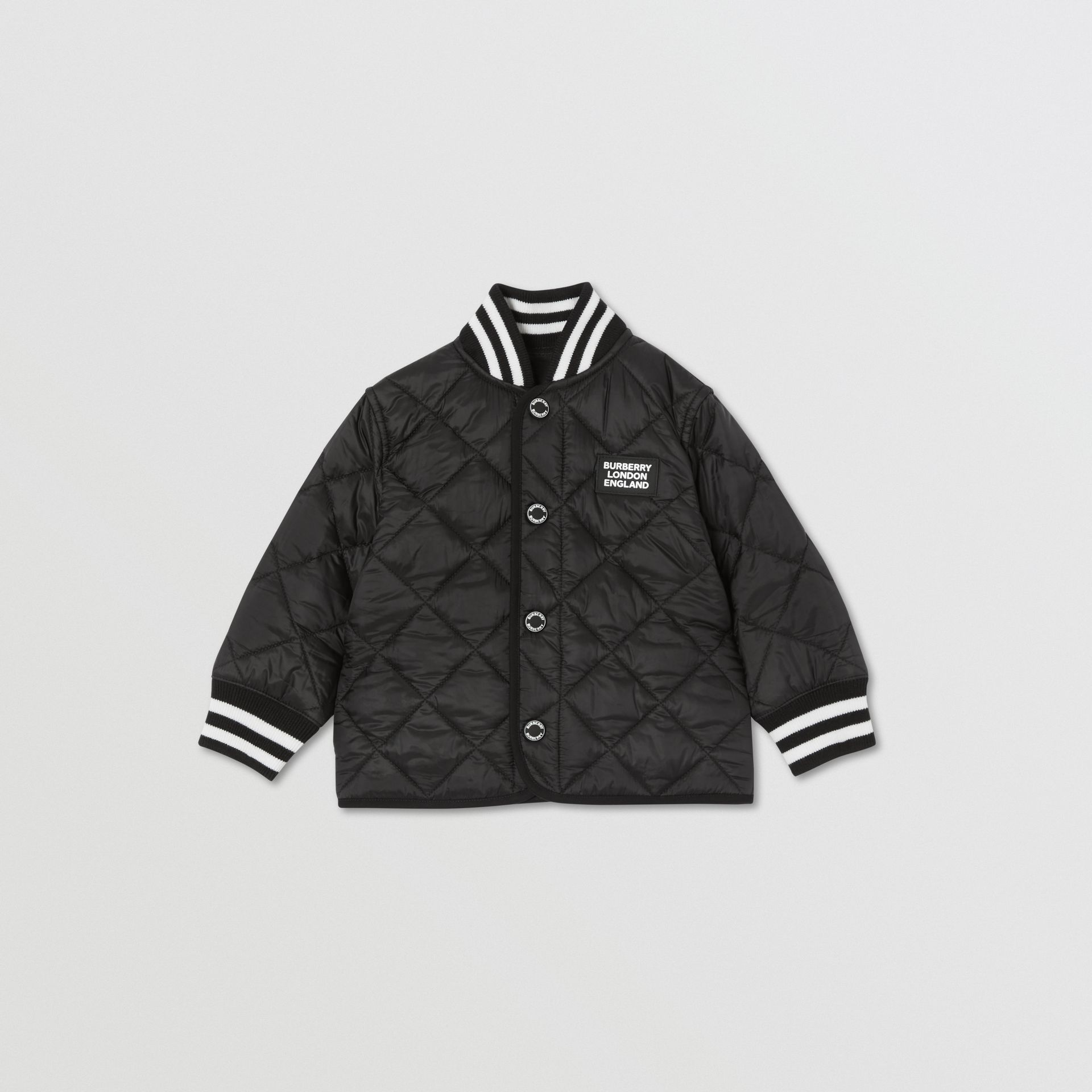 Recycled Polyester Diamond Quilted Jacket in Black - Children | Burberry United Kingdom - gallery image 0