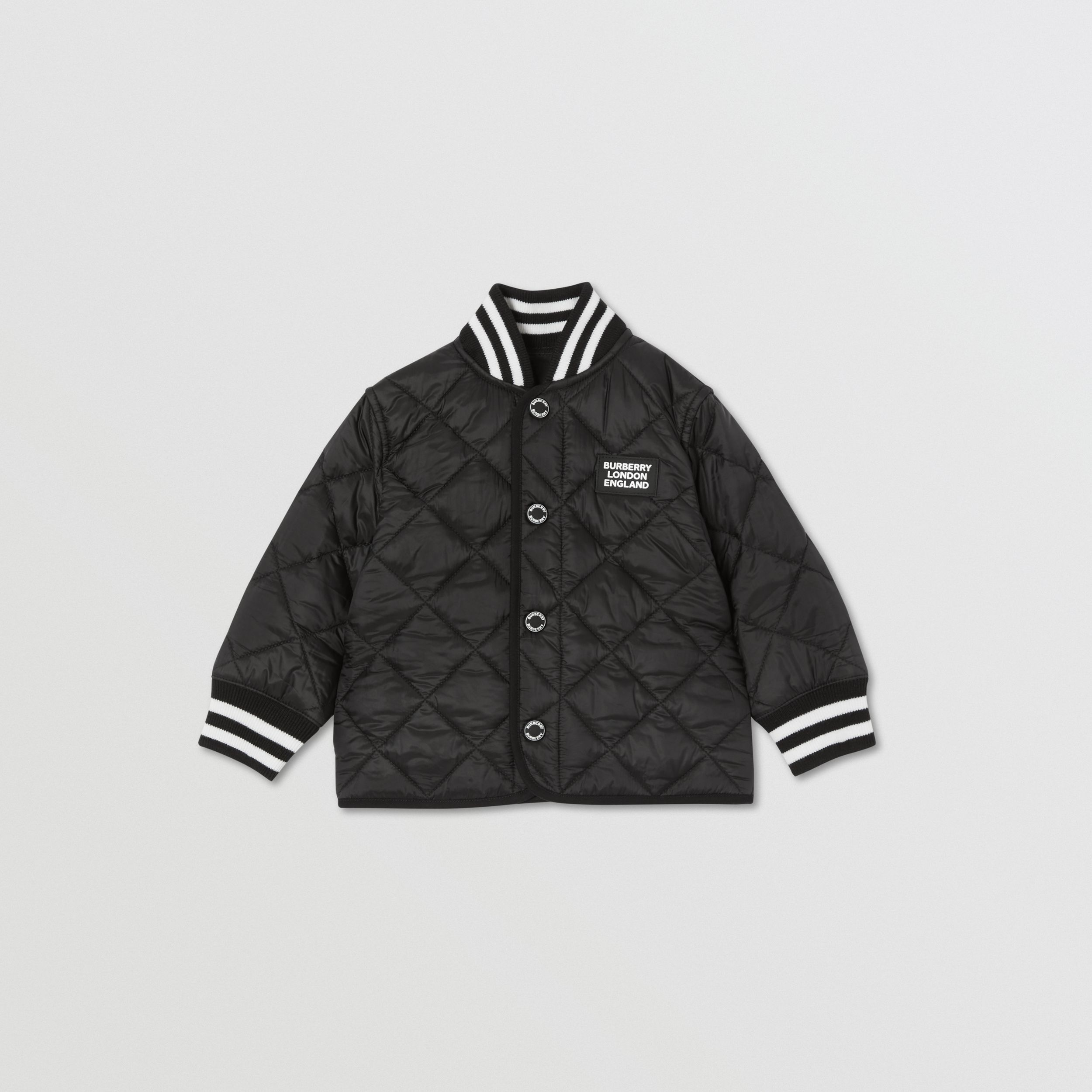 Recycled Polyester Diamond Quilted Jacket in Black - Children | Burberry - 1
