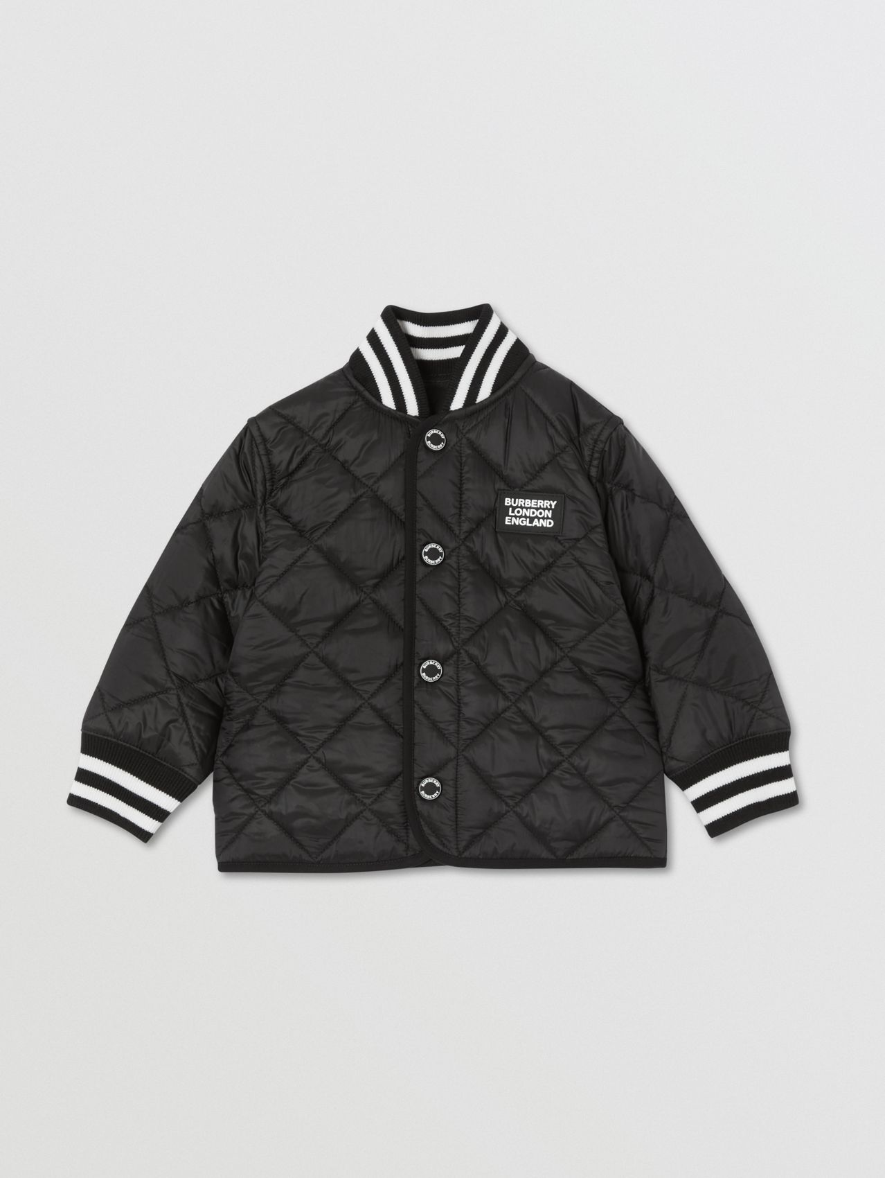 Recycled Polyester Diamond Quilted Jacket in Black