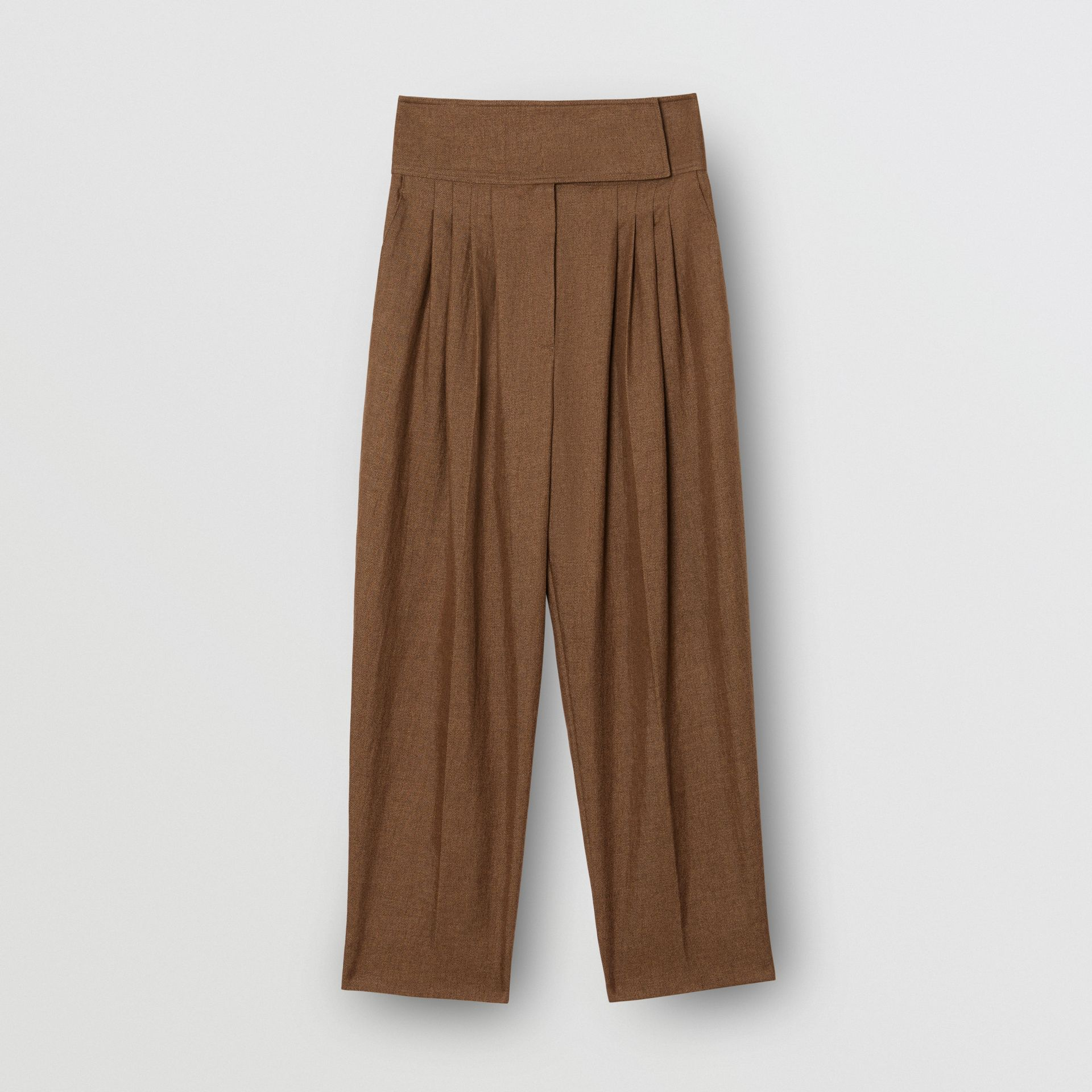 Pleat Detail Technical Linen Tailored Trousers in Flaxseed - Women | Burberry Australia - gallery image 3
