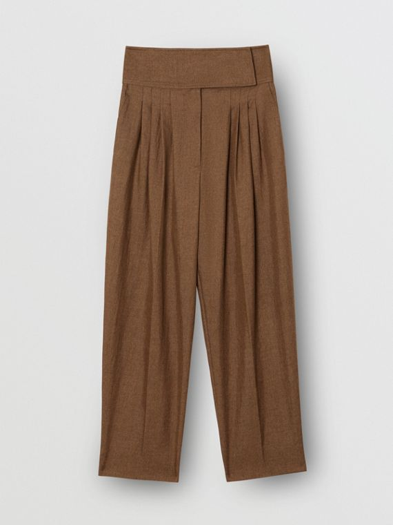 Pleat Detail Technical Linen Tailored Trousers in Flaxseed