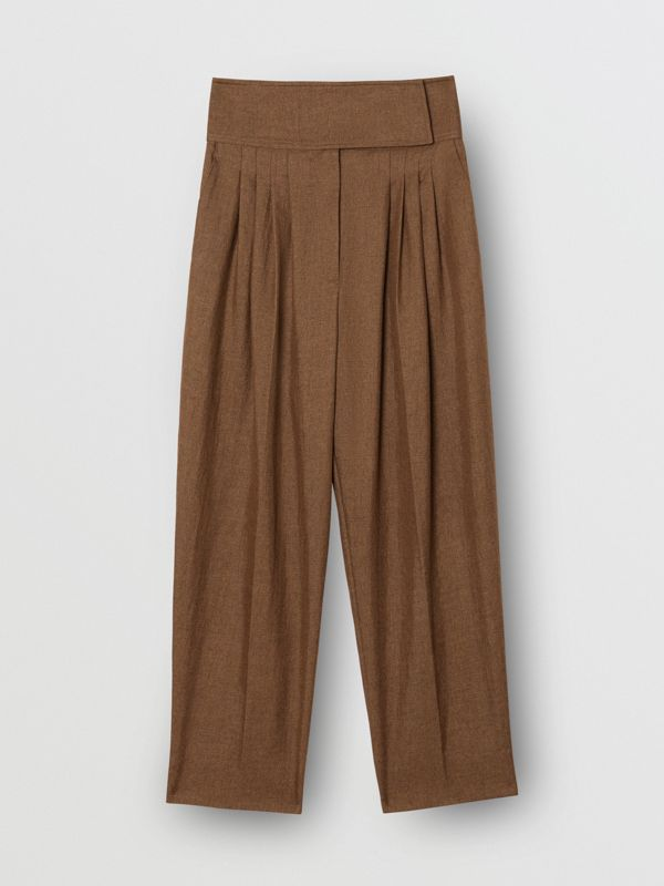 Pleat Detail Technical Linen Tailored Trousers in Flaxseed - Women | Burberry Australia - cell image 3