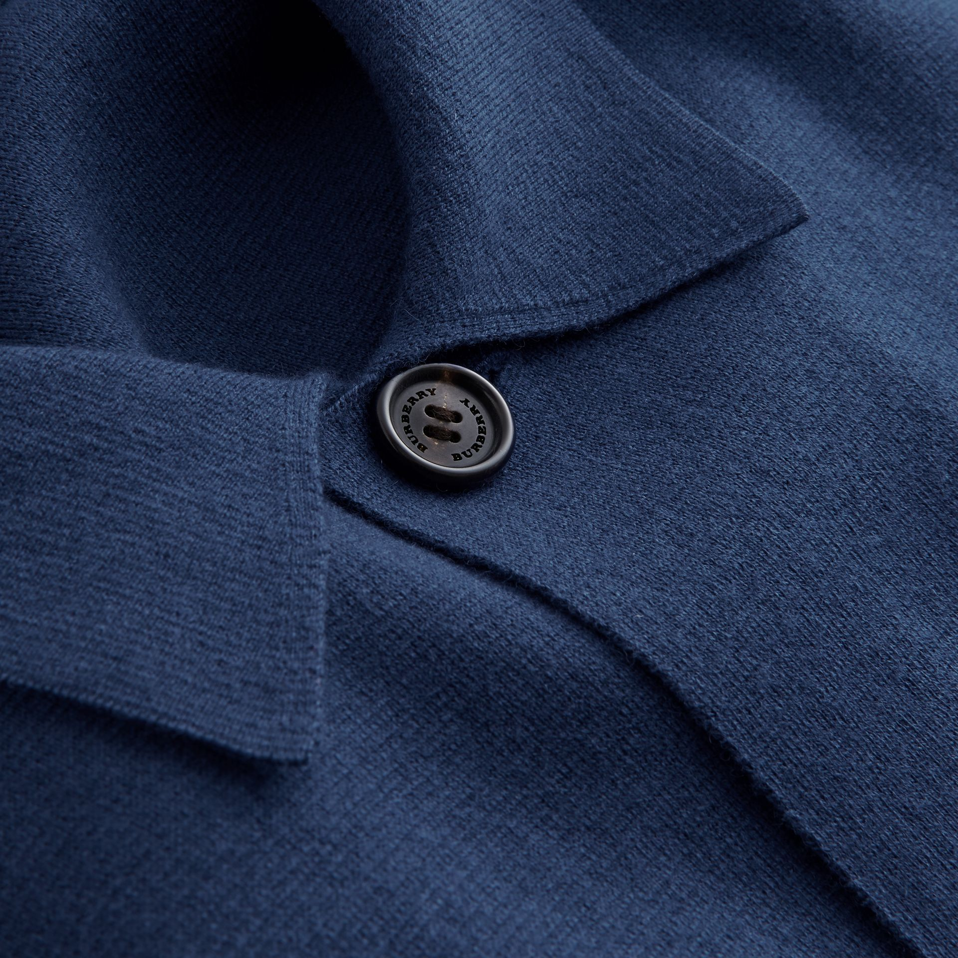 Knitted Cashmere Cotton Workwear Jacket in Steel Blue - Men | Burberry - gallery image 2