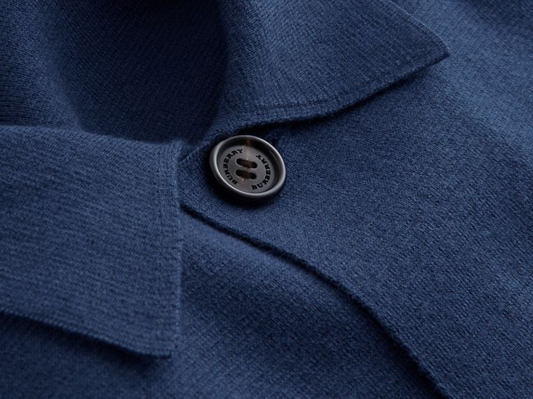 Knitted Cashmere Cotton Workwear Jacket in Steel Blue - Men | Burberry - cell image 1
