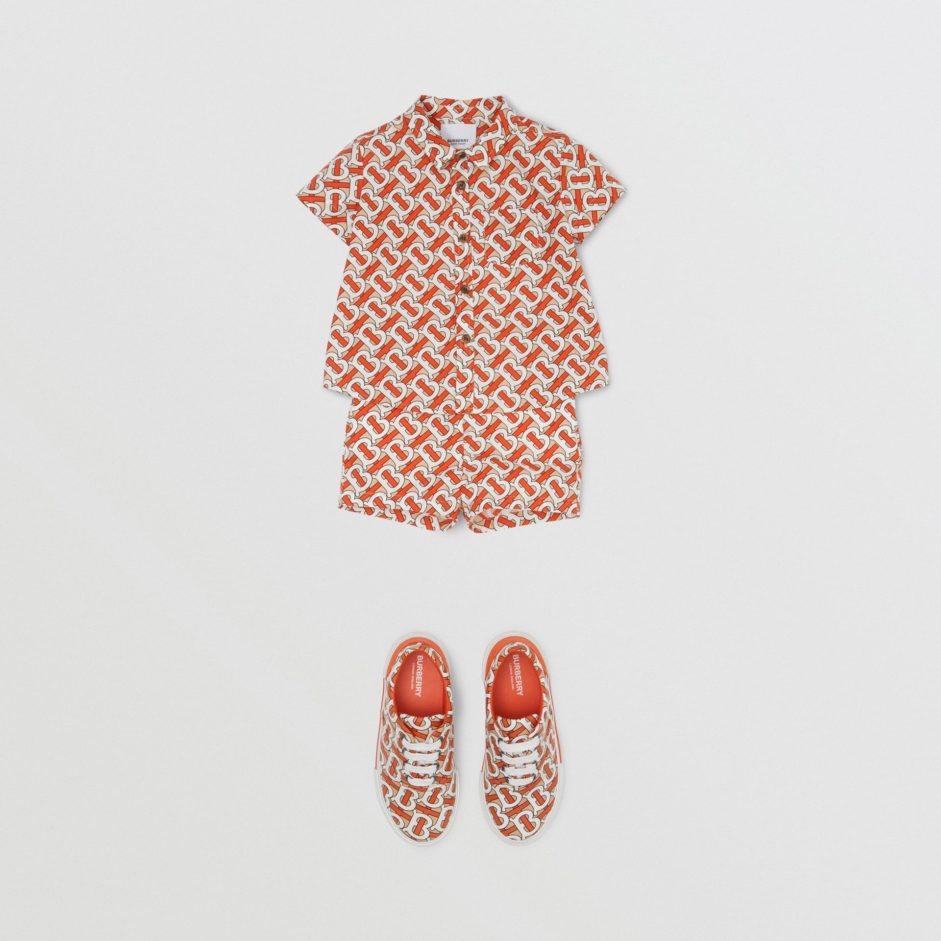Monogram Print Cotton Poplin Shorts in Vermilion Red - Children | Burberry - gallery image 2