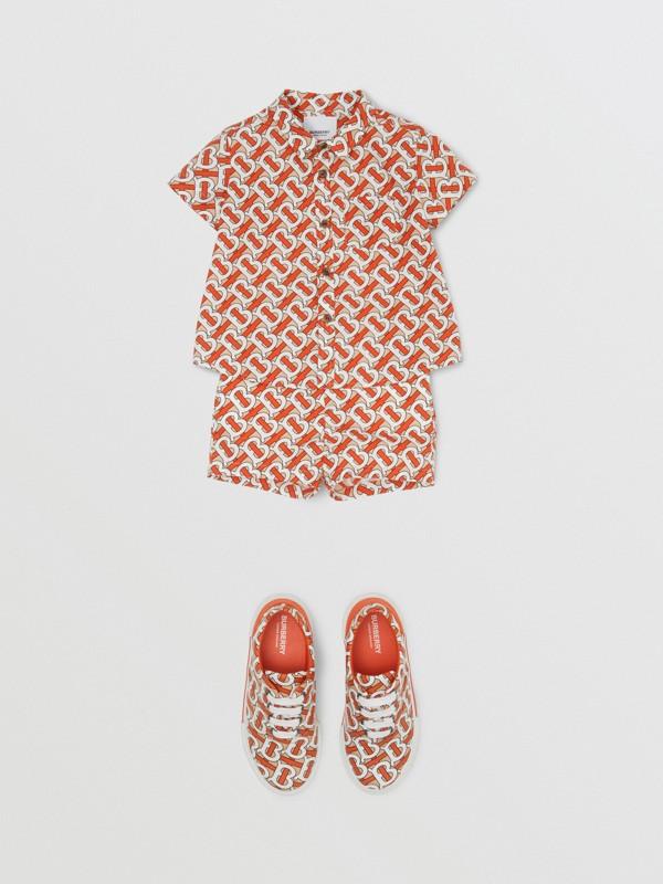 Monogram Print Cotton Poplin Shorts in Vermilion Red - Children | Burberry - cell image 2