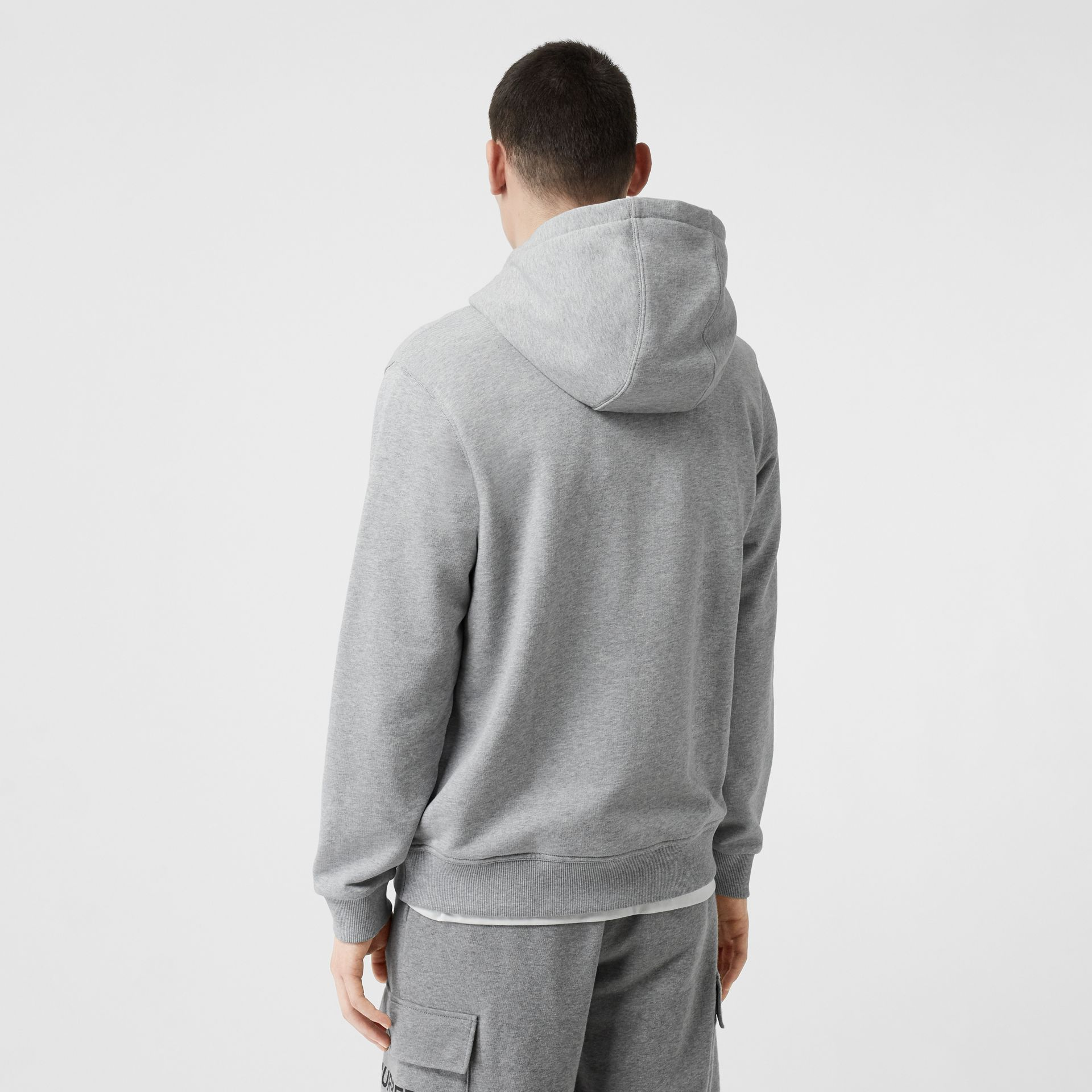 Monogram Motif Cotton Hooded Top in Pale Grey Melange - Men | Burberry - gallery image 2