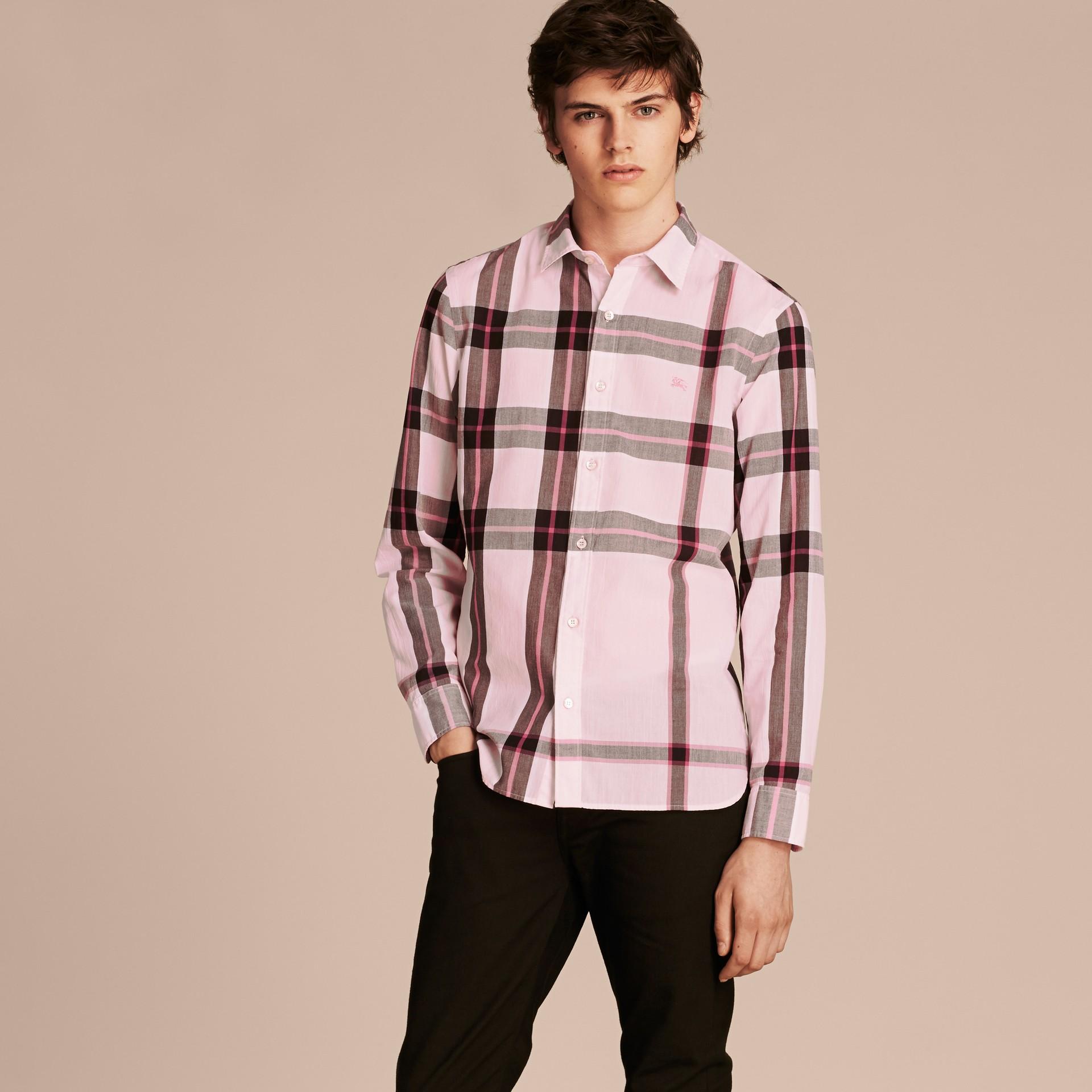 Check Cotton Shirt Light Pink - gallery image 6