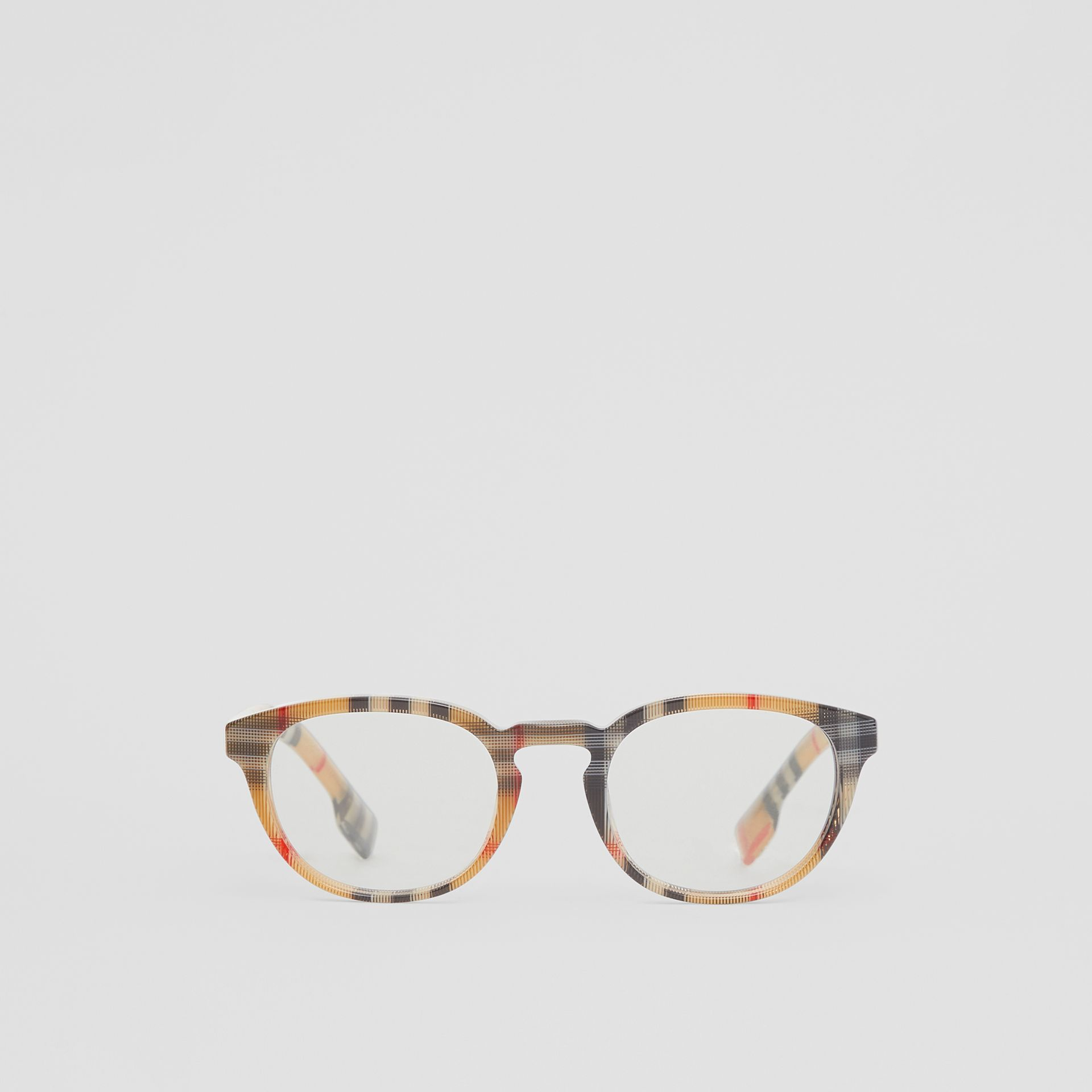 Vintage Check Round Optical Frames in Antique Yellow - Men | Burberry - gallery image 0