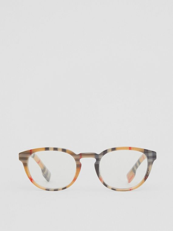 Vintage Check Round Optical Frames in Antique Yellow
