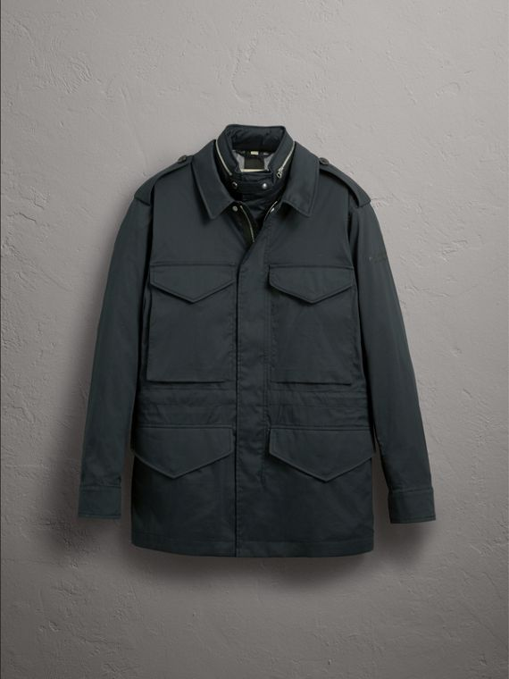 Longline Cotton Blend Field Jacket with Detachable Gilet in Navy - Men | Burberry United Kingdom - cell image 3