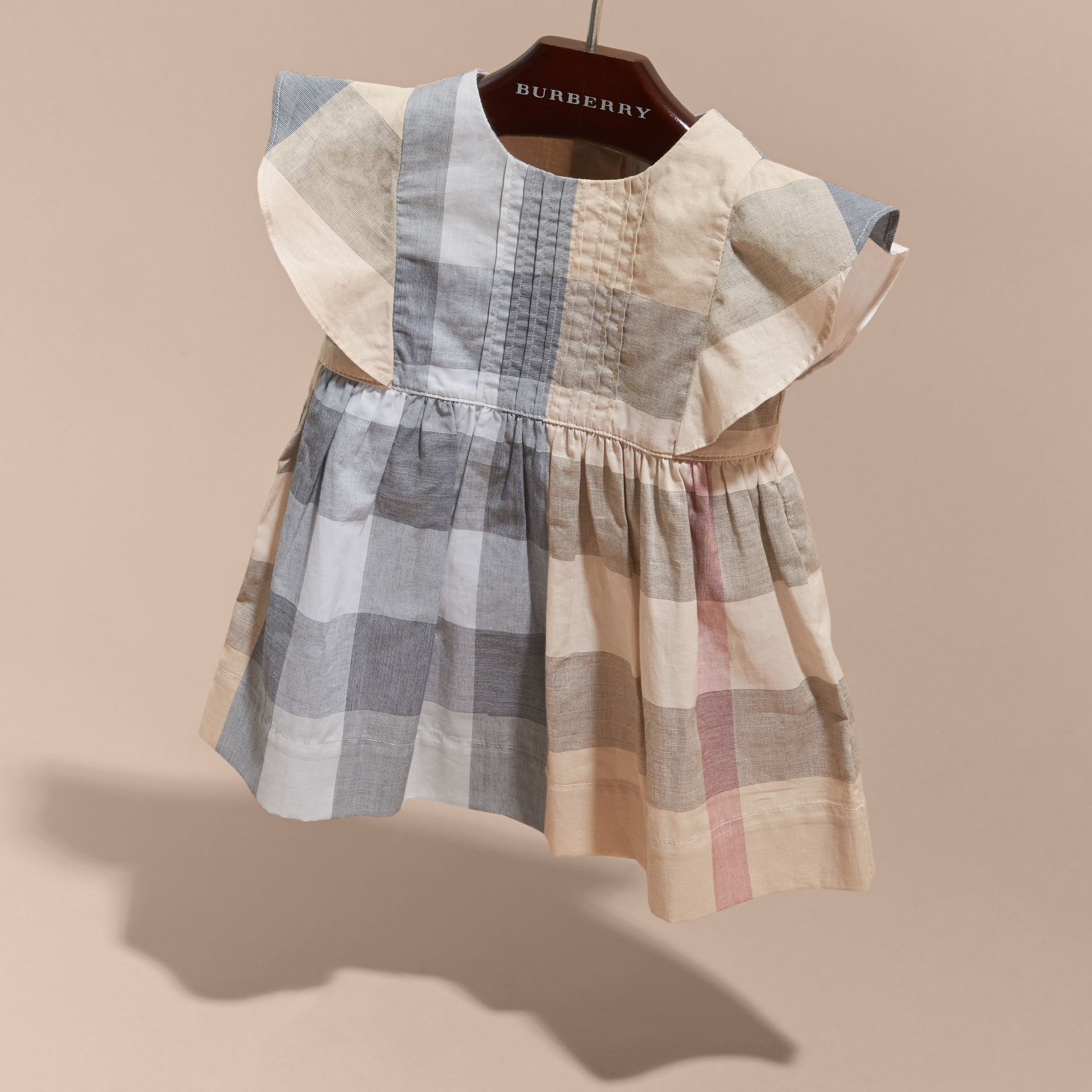 Ruffle Detail Check Cotton Dress in Pale Stone | Burberry - gallery image 3
