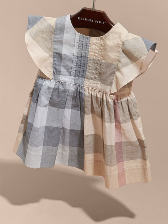 Ruffle Detail Check Cotton Dress Pale Stone - cell image 2
