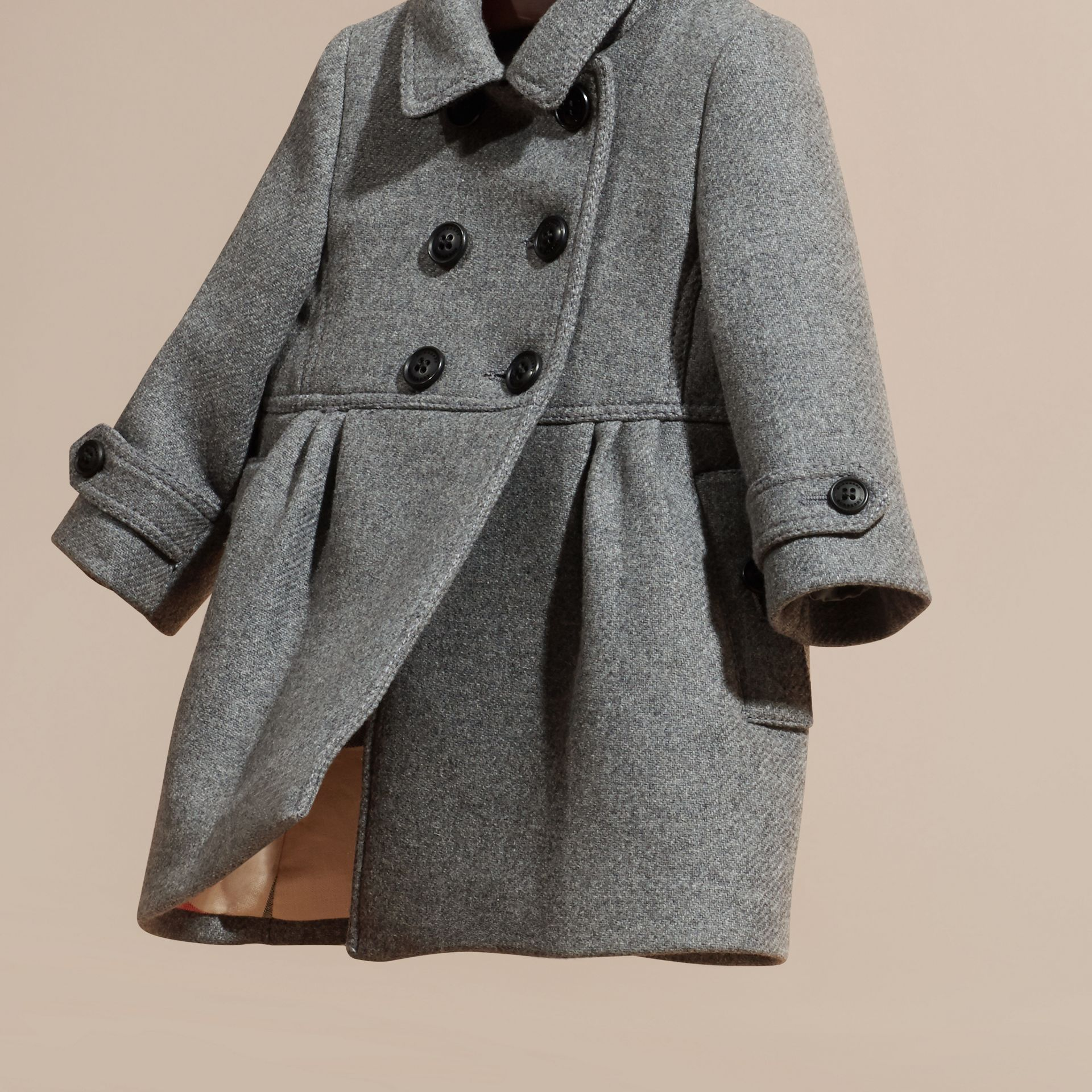 Steel grey melange Tailored Wool Cashmere Blend Coat Steel Grey Melange - gallery image 3