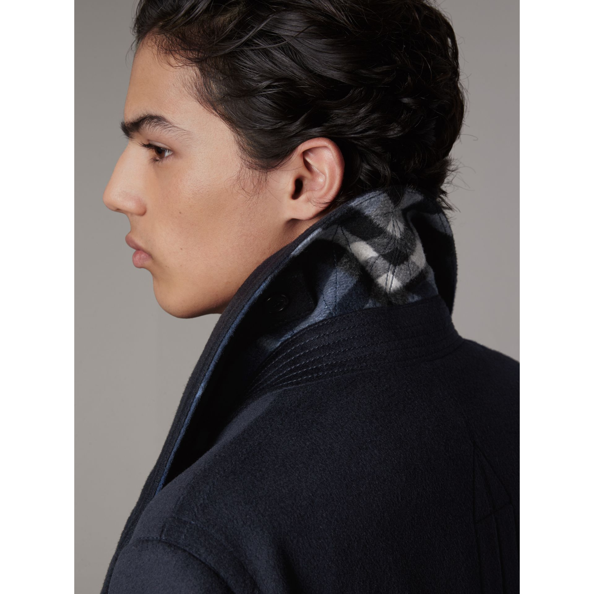 Wool Cashmere Pea Coat in Navy - Men | Burberry Australia - gallery image 2