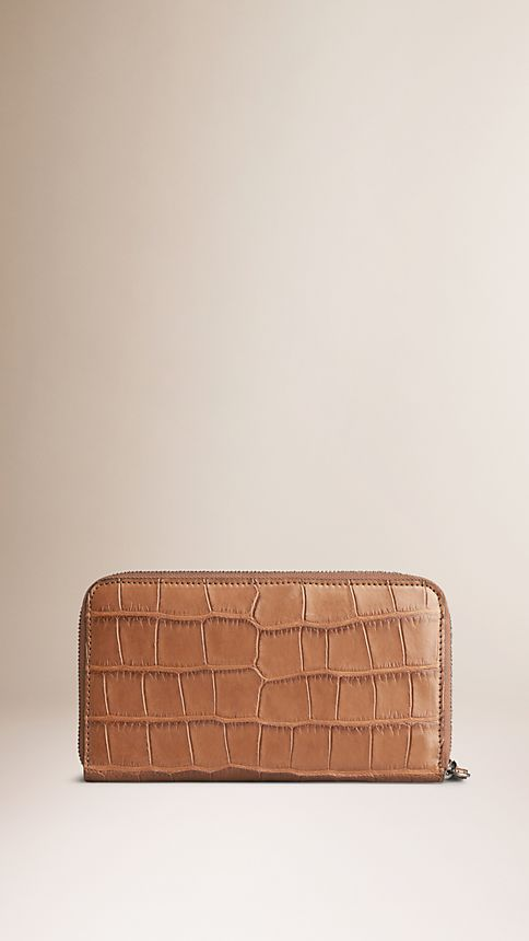 Tan Alligator Ziparound Wallet - Image 2