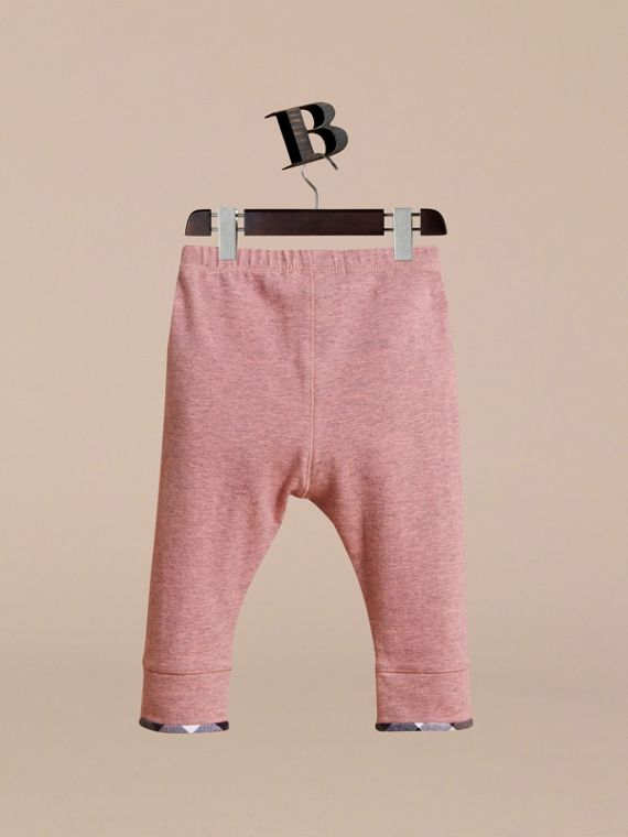 Check Cuff Stretch Cotton Jersey Leggings in Pale Pink Melange | Burberry - cell image 3