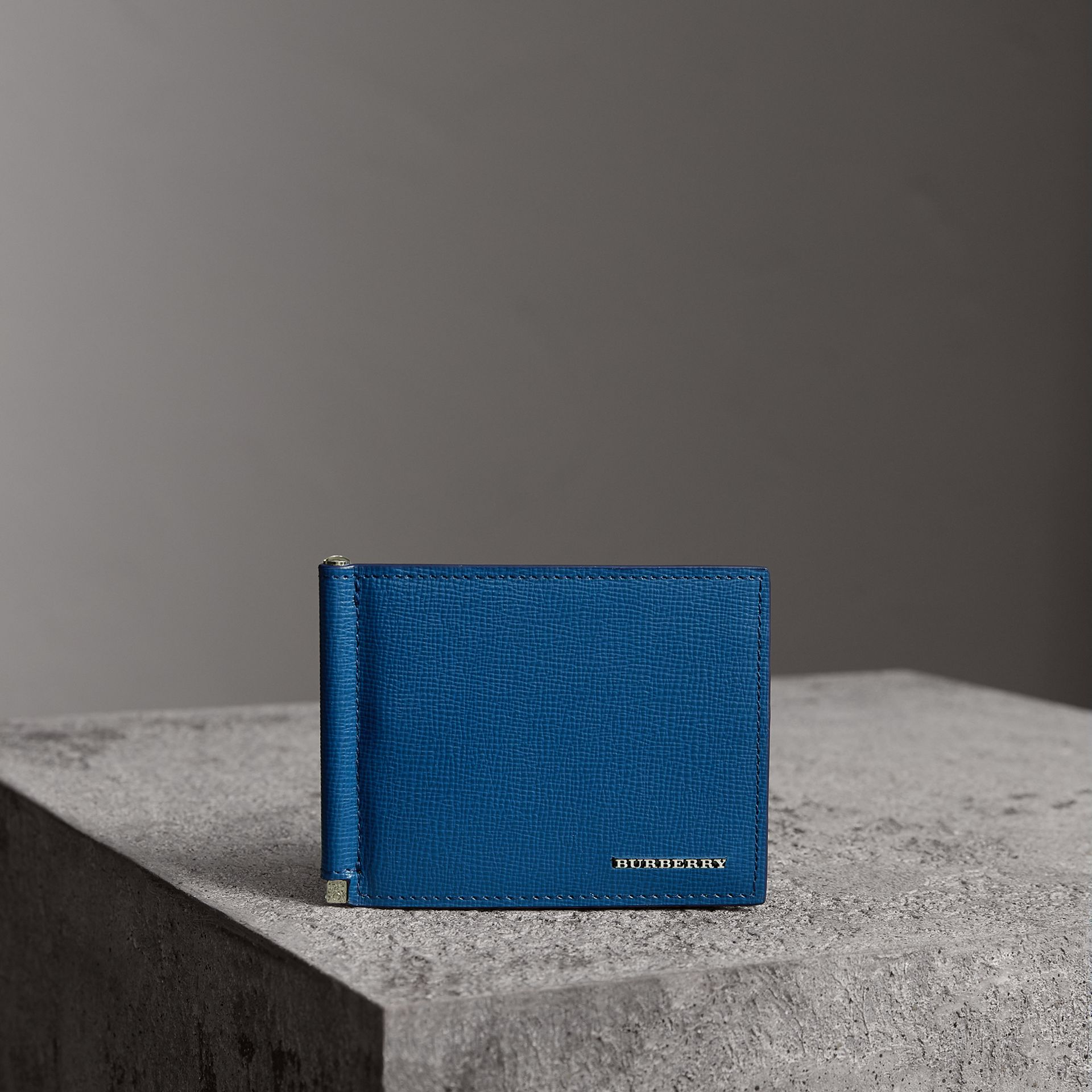 London Leather Money Clip Card Wallet in Deep Blue | Burberry United States - gallery image 0