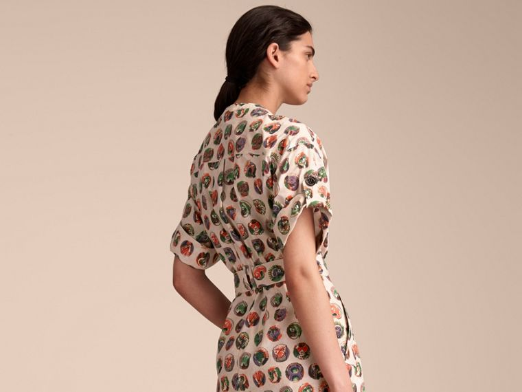 Pallas Heads Print Stretch Cotton Shirt Dress in Natural White - Women | Burberry - cell image 1