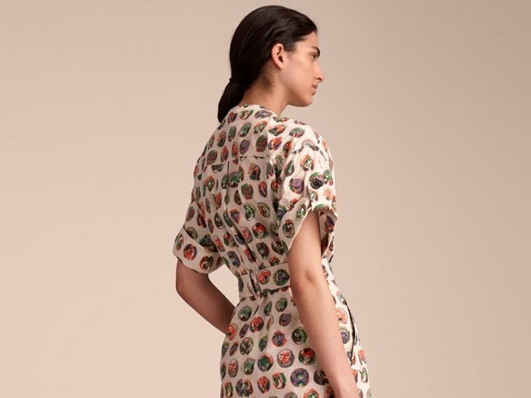 Vestido estilo camisa de algodão stretch com estampa Pallas Heads (Branco Natural) - Mulheres | Burberry - cell image 1