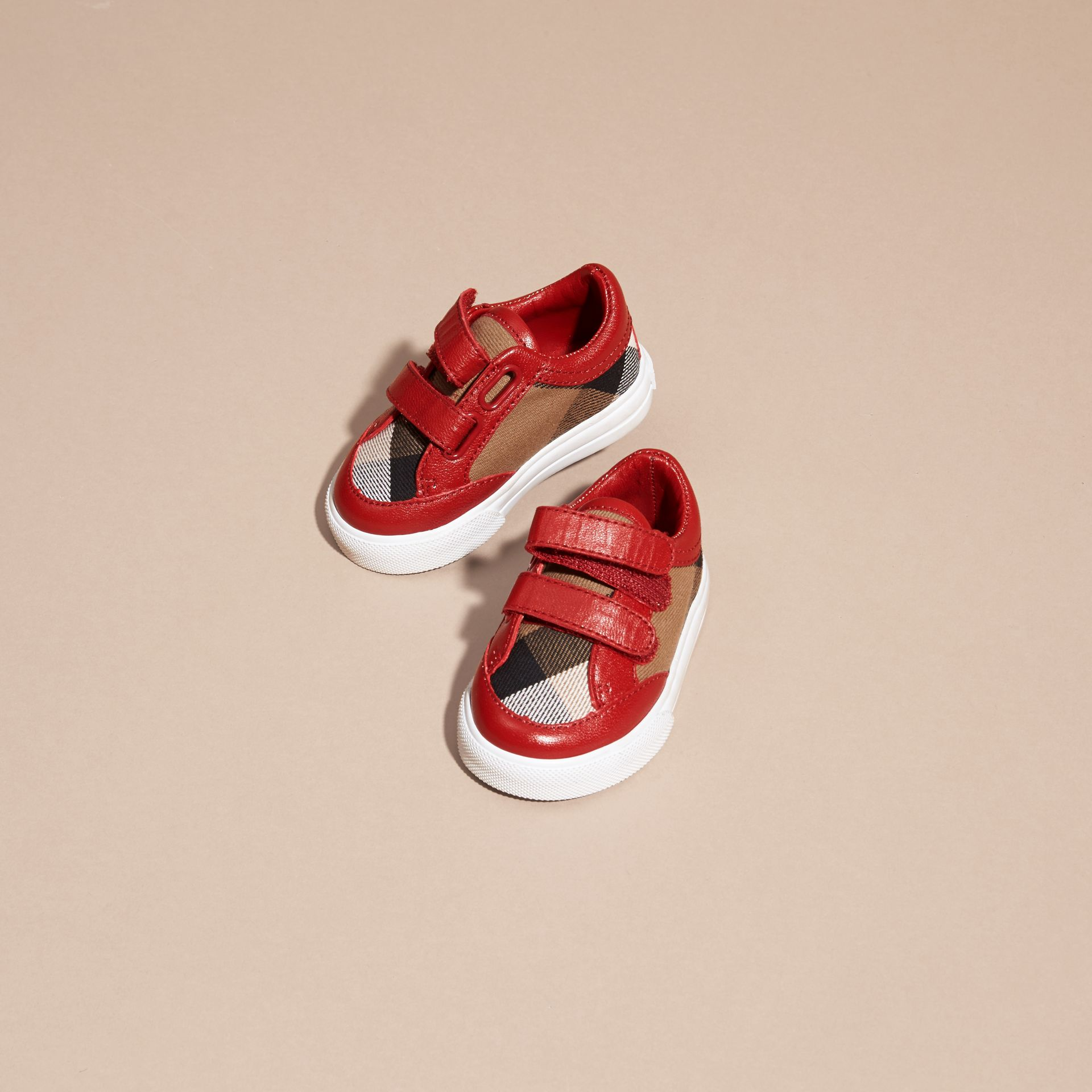 House Check and Leather Trainers in Parade Red | Burberry - gallery image 3