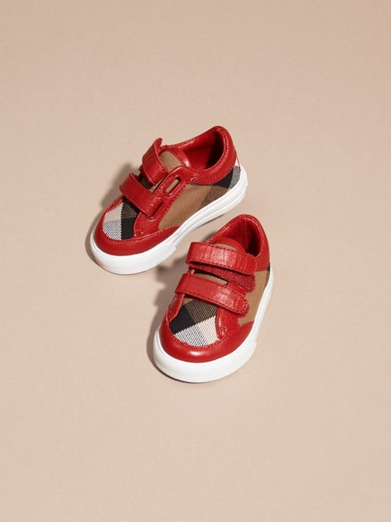 House Check and Leather Trainers in Parade Red - cell image 2