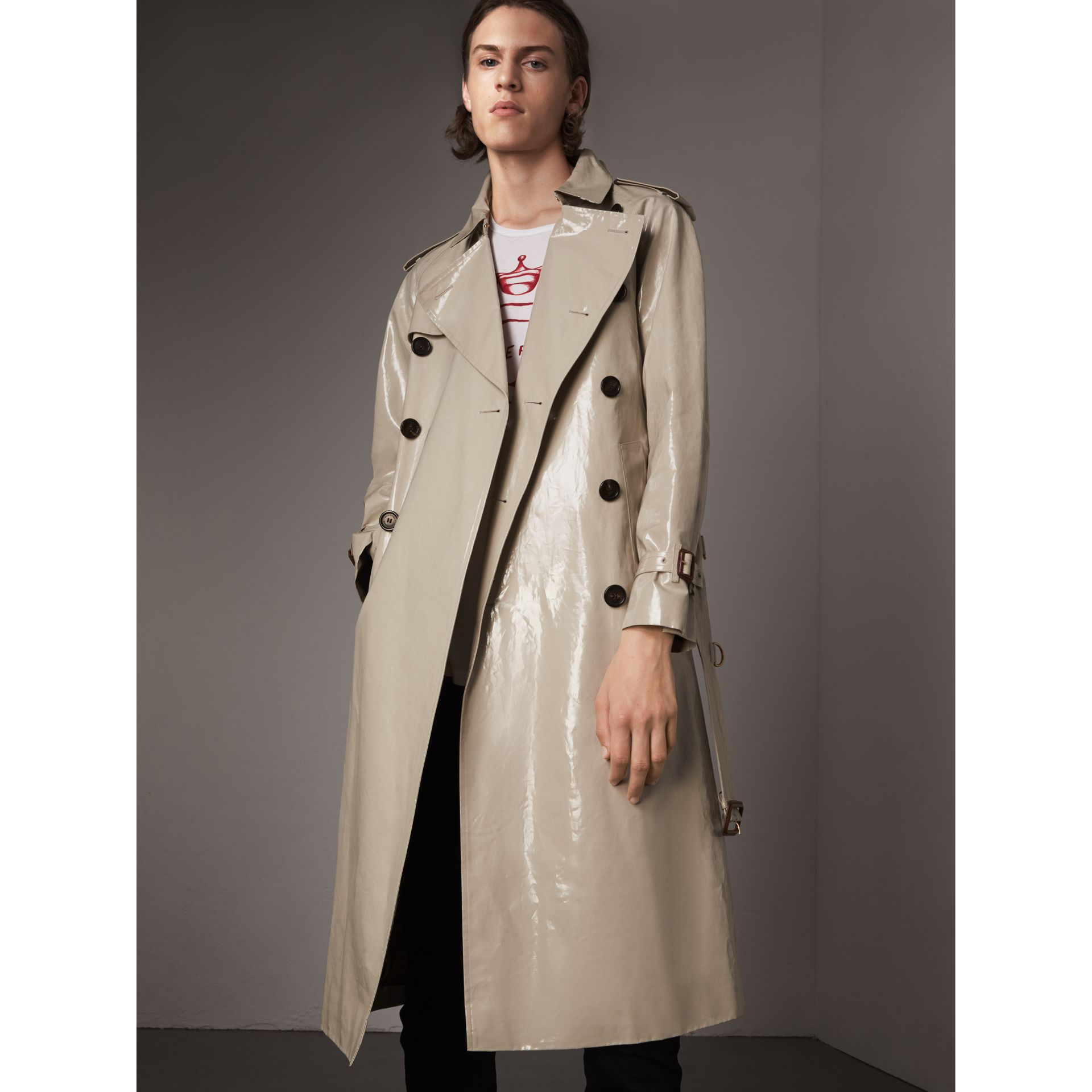 Laminated Cotton Gabardine Trench Coat in Stone - Men | Burberry - gallery image 0