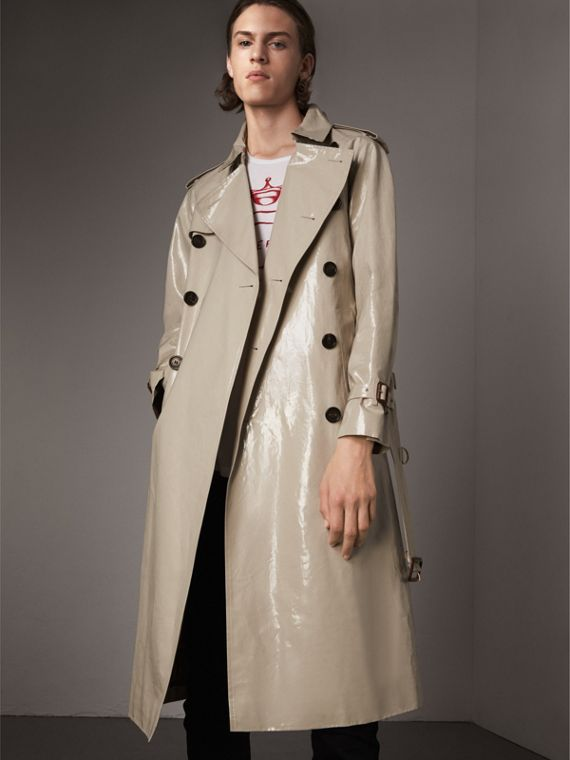 Laminated Cotton Gabardine Trench Coat in Stone