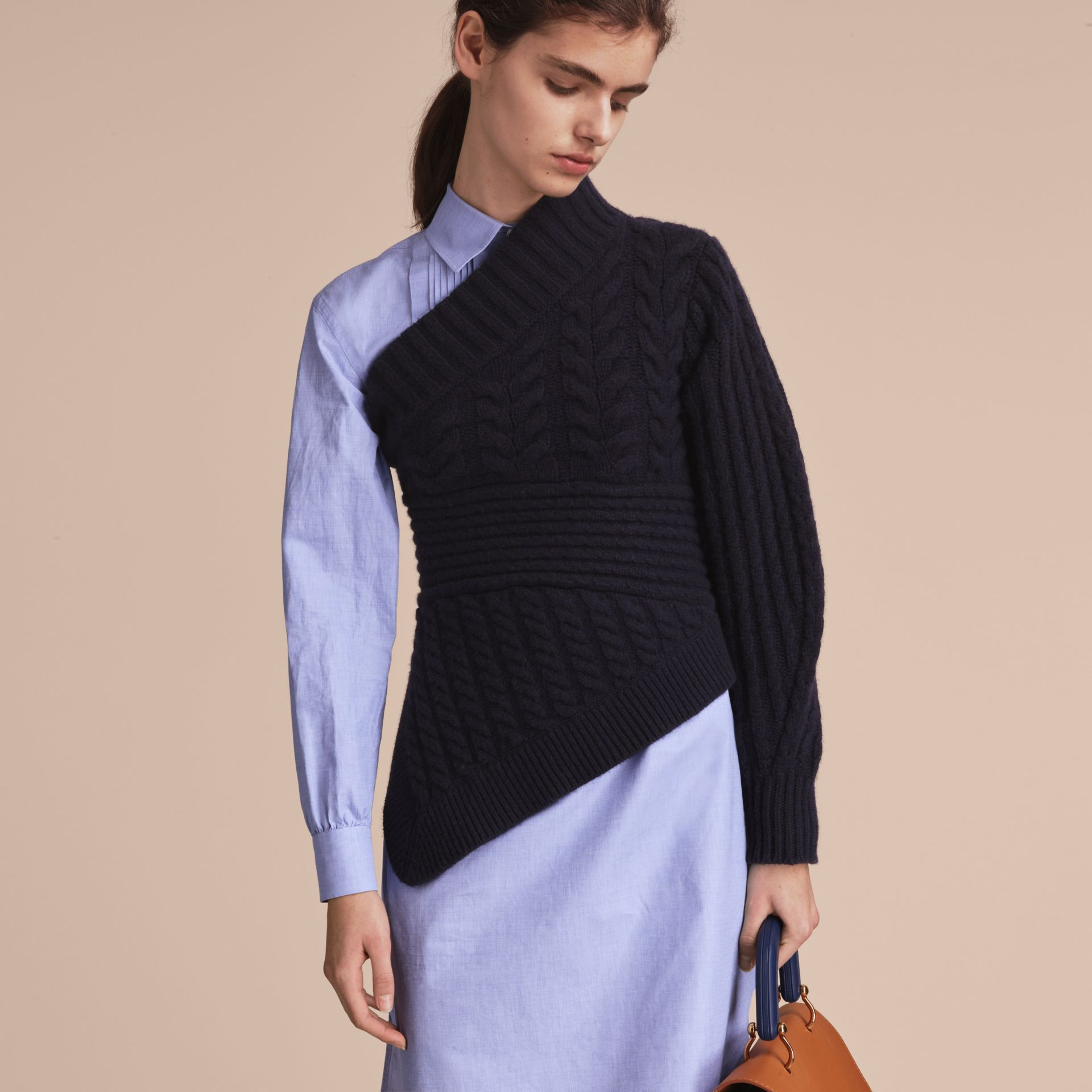 One-shoulder Cable Knit Cashmere Sweater in Navy - Women | Burberry - gallery image 6