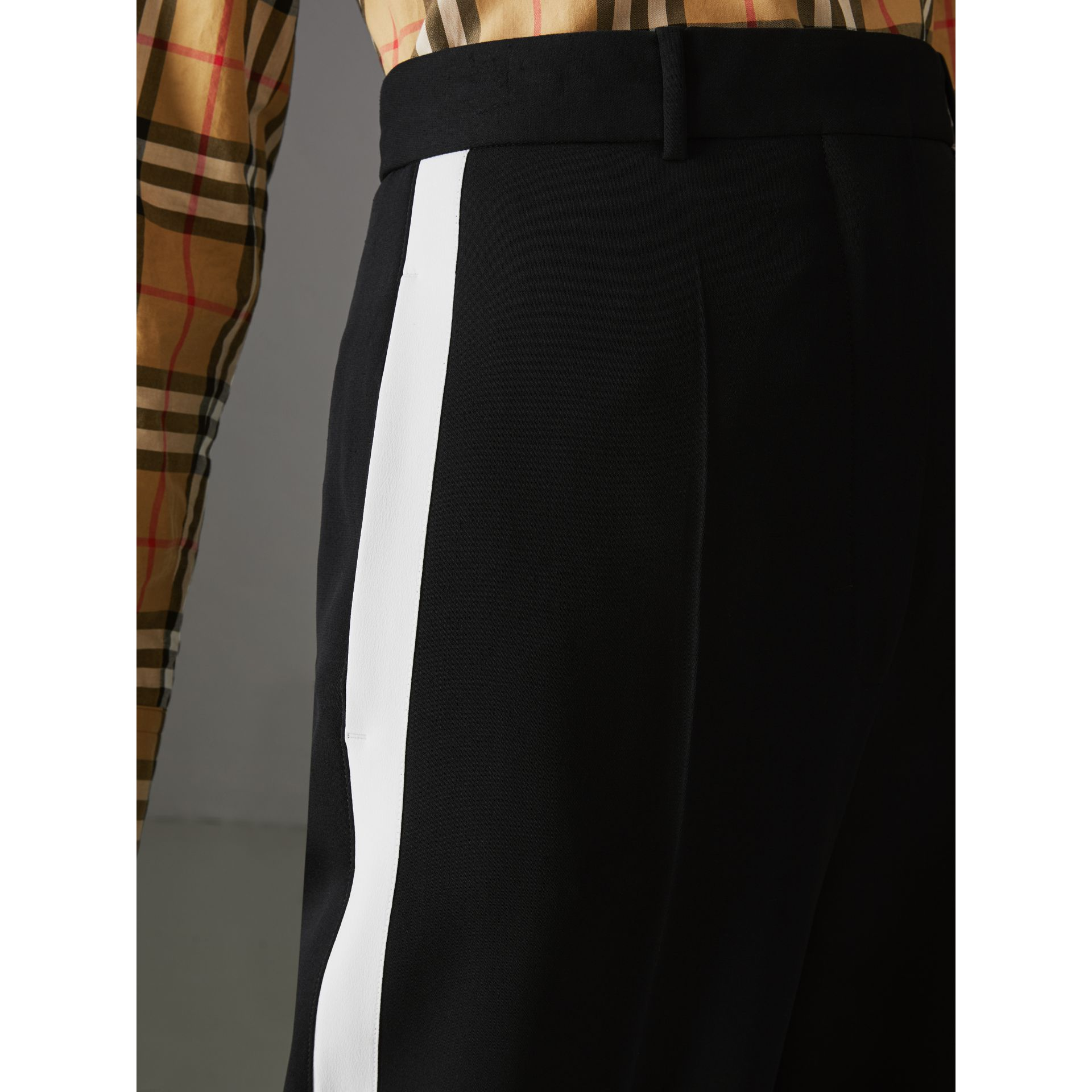 Crepe Wide-leg Trousers in Black - Women | Burberry Singapore - gallery image 1