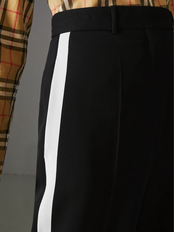 Crepe Wide-leg Trousers in Black - Women | Burberry - cell image 1