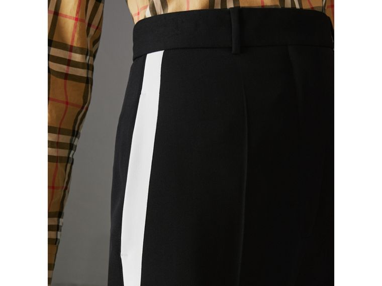 Crepe Wide-leg Trousers in Black - Women | Burberry Singapore - cell image 1